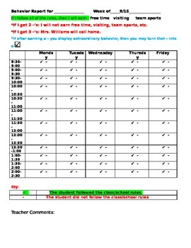 Behavior Management- Weekly Behavior Chart