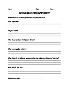 Behavior Management Worksheet