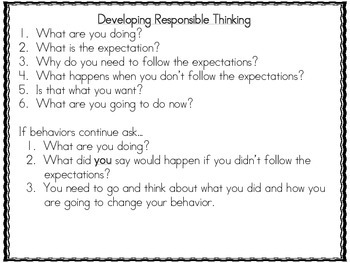 Behavior Managment Plan: Developing Responsible Thinkers
