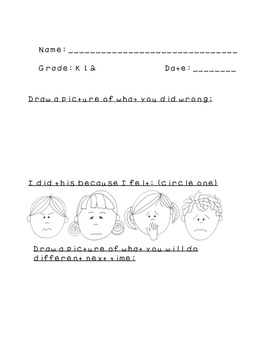 Behavior Managment Sheets for Elementary Connections/ Fine Arts