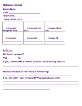 Behavior Menu for Students with Motivation or Behavioral Issues