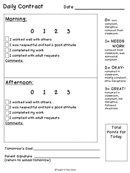 Behavior Modification Contracts/Rewards