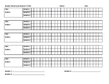 Behavior Monitoring Chart for MTSS Students