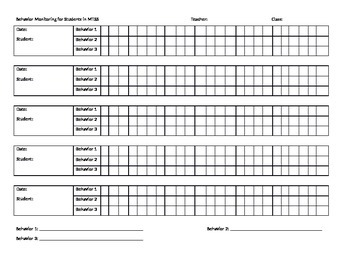 Behavior Monitoring Chart for MTSS Students