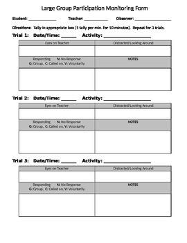 Behavior Monitoring Form (on/off task)