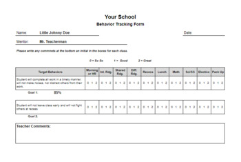 Behavior Monitoring Form with Automatic Charts (check in check out)