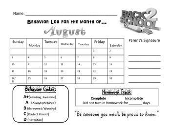 Behavior Monthly Log (August Free)