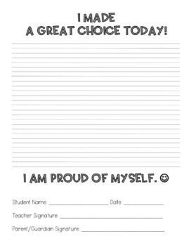 Student Behavior Self-Reflection and Parent Letter