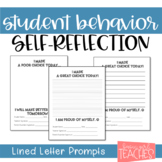 Student Behavior Self-Reflection and Parent Letter