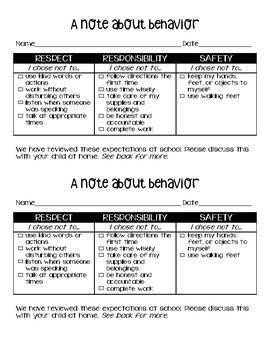 PBIS Behavior Note RESPECT RESPONSIBILITY SAFETY