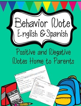 Behavior Note English and Spanish