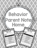 Behavior Note Home for Parents