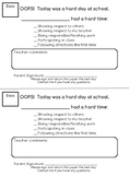 Behavior Note Home to Parents