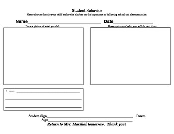Behavior Note to Parents from Student (Think Sheet)