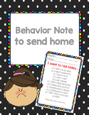 Behavior Note to send home