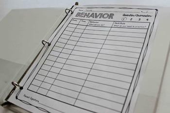 Behavior Notebook for Classroom Management