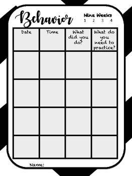Behavior Notebook Page