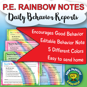 Daily Behavior Reports For Elementary Physical Education and Health