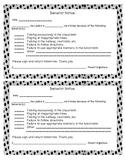 Behavior Notes for Parents