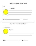 Behavior Notes to Parents