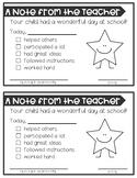 Behavior Notes to Send Home