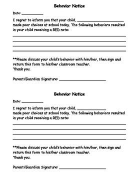 Behavior Notice
