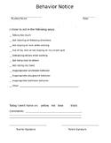 Elementary Behavior Notice For Parents