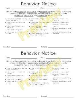 Behavior Notice Slip