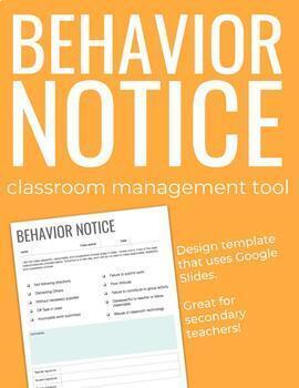 Behavior Notice Template, Classroom Management Tool