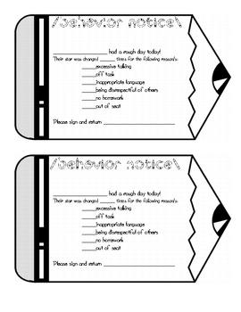 Behavior Notice for Elementary Classroom