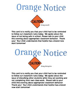 Behavior Notices - Colored System
