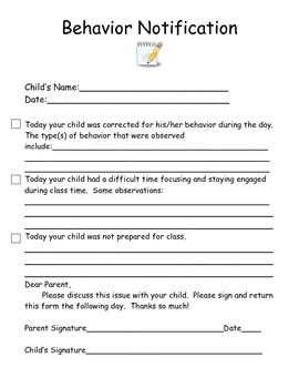 Behavior Notification Form
