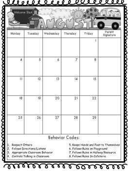 Behavior Parent Communication Calendars SAMPLE