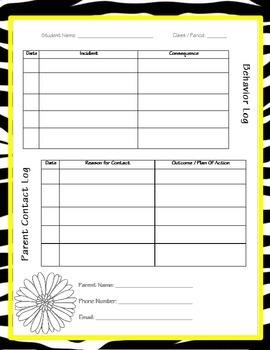 Behavior & Parent Contact Log ~ Zebra Theme