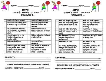 Behavior Parent Note
