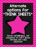 Behavior Passages [FREEBIE] Alternative to Think Sheets