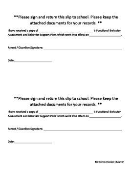 Behavior Plan Parent Signature Form