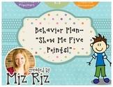 "Behavior Plan- ""Show Me 5 Points"" Flipchart"