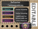 Shabby Chic Burlap Behavior Plan Editable Template