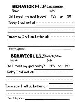 Behavior Plan Work Completion