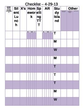Behavior Plan X Chart Checklist Third Grade Homework Accel