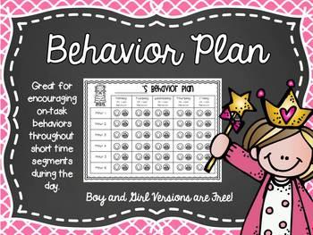 Behavior Plan for Off Task Behavior Freebie Set!