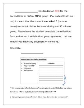 Behavior Chart for Title I Teachers