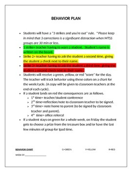 Behavior Chart for Title I Teachers