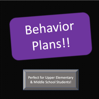 Behavior Plans and Self-Reflection Sheet