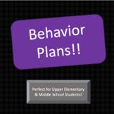 Behavior Plans and Self-Reflection Sheet