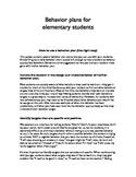 Behavior Plans for Elementary Students