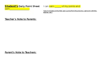 Behavior Point Sheet