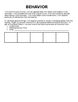 Behavior Point Sheet - Behavior Contract