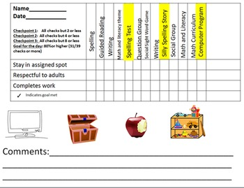 Behavior Point Sheet with Visuals and Breaks